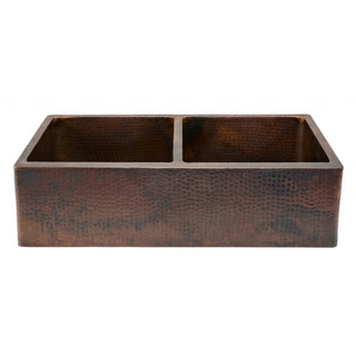 Premier Copper Products Hammered Copper 33 Inch Apron Double Basin Kitchen  Sink