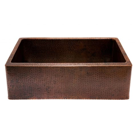 """Handmade 30"""" Hammered Copper Single Basin Kitchen Sink (Mexico)"""