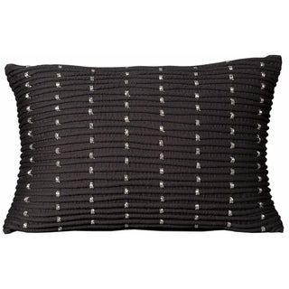 Mina Victory Luminescence Rib With Beads Black Throw Pillow (14-inch x 20-inch) by Nourison