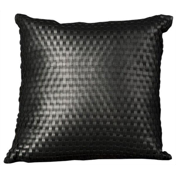 Mina Victory Natural Leather and Hide Basket Weave Black Throw Pillow (24-inch x 24-inch) by Nourison