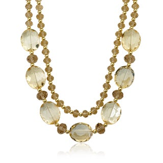 Riccova Gold Overlay Faceted Champagne Glass Bead 2-strand Necklace