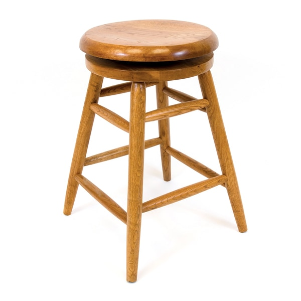 Solid Medium Oak Backless Saddle 360 Swivel 30 Inch Bar Stool