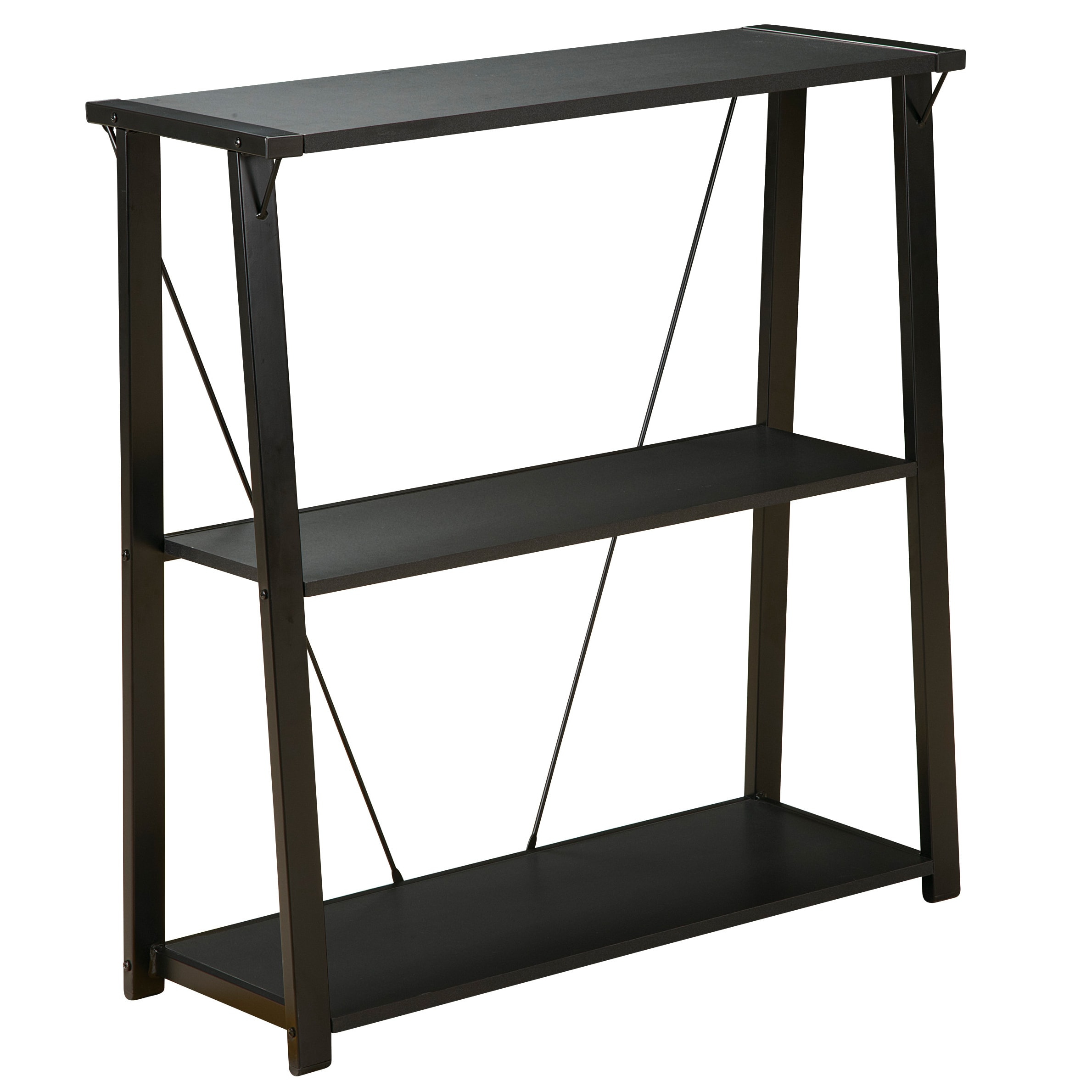 Office Star Products Orion Black Three-shelf Metal Bookcase (Orion Bookcase, Three Shelf, Black Finish)