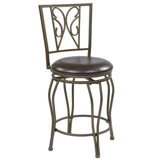 Cosmo 24-inch Ash Metal Upholstered Swivel Barstool