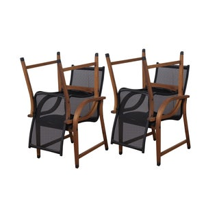 Amazonia Cosmopolitan Eucalyptus and Sling Brown/Black Arm Chairs (Set of 4)