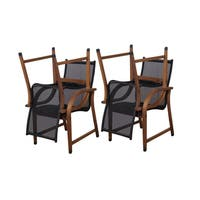 Havenside Home Tottenville Eucalyptus and Sling Brown/Black Arm Chairs (Set of 4)