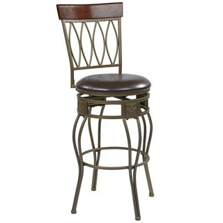 Cosmo 30-inch Ash Metal Upholstered Swivel Barstool
