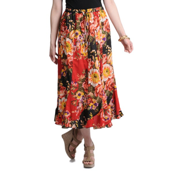 La Cera Women's Black and Red Floral Printed Maxi Skirt