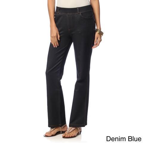 La Cera Womens Stretch Denim Boot Cut Pants