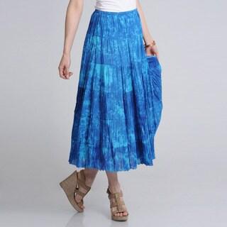 La Cera Women's Denim Tie Dye Printed Maxi Skirt