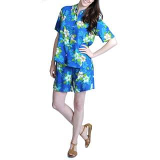 La Cera Women's Blue Floral Print Shirt and Short Set (Option: M)|https://ak1.ostkcdn.com/images/products/7951755/P15324790.jpg?impolicy=medium