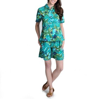 La Cera Women's Teal Floral Print Casual Shirt and Short Set