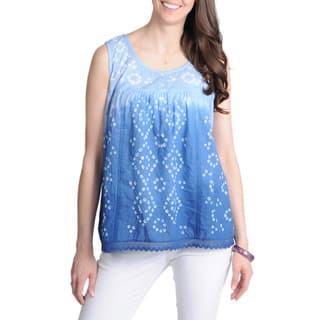 La Cera Women's Blue Tie-dye Printed Tank Top|https://ak1.ostkcdn.com/images/products/7951758/P15324793.jpg?impolicy=medium