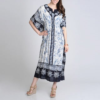 La Cera Women's Navy Caftan Printed Casual Dress