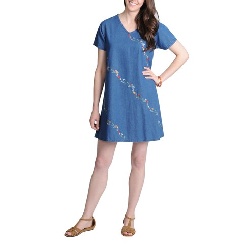 La Cera Women's Denim Rosette Embroidered Casual Dress