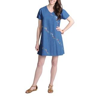 La Cera Women's Denim Rosette Embroidered Casual Dress