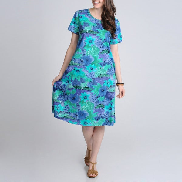 La Cera Women's Teal Floral Printed Casual Dress with Scoop Neck