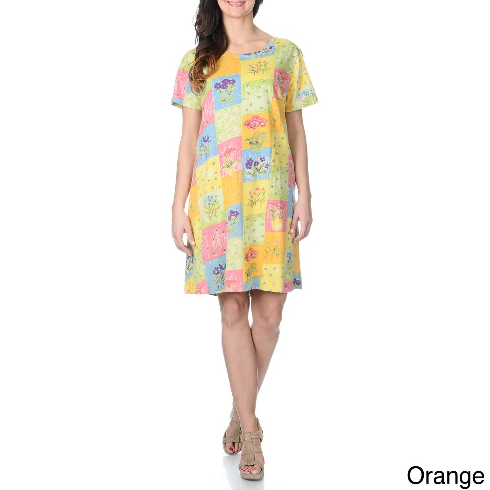 La Cera Womens Floral Printed Casual Dress with Short Sleeves
