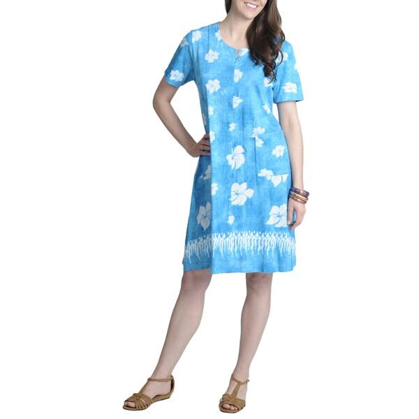La Cera Women's Floral Print Zip-front Casual Dress