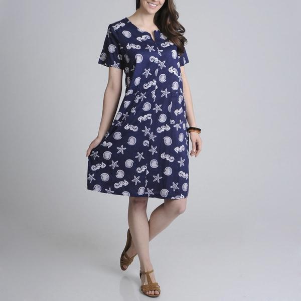 La Cera Women's Navy Shell Print Zip-front Dress