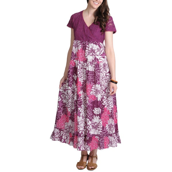 La Cera Women's Purple Lace and Floral Two-Tone V-Neck Maxi Dress