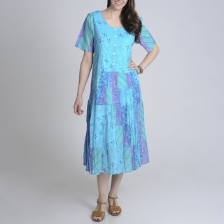 La Cera Women's Blue Abstract Floral Printed Casual Dress