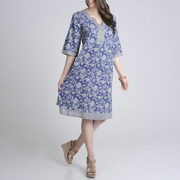 La Cera Women's Floral Printed Jewel Neck Casual Dress