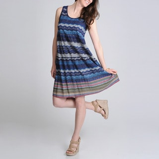 La Cera Women's Blue Tiered Printed Casual Dress