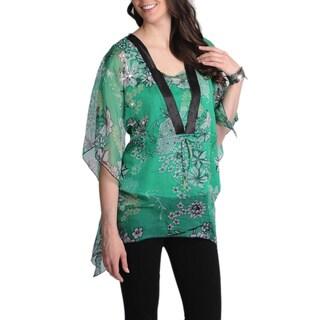 La Cera Women's Green Floral Printed Kimono Top
