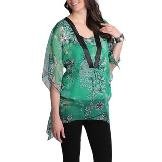 La Cera Women's Green Floral Printed Kimono Top (2 options available)