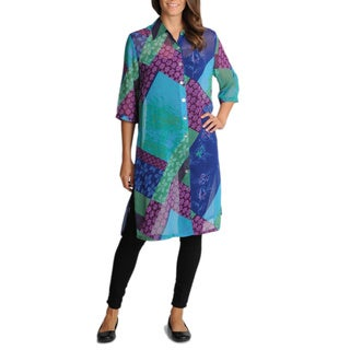 La Cera Women's Printed Sheer Duster Top (3 options available)