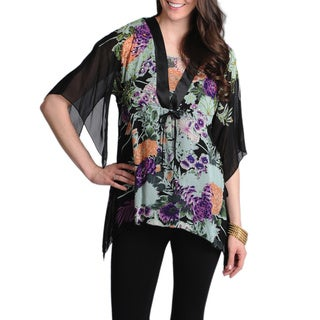 La Cera Women's Floral Printed Kimono Top