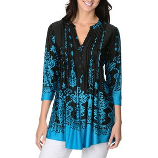 La Cera Women's Printed Pleated V-neck 3/4-sleeve Tunic