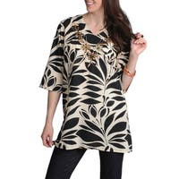La Cera Women's Printed Embroidered and Beaded Tunic