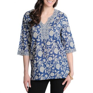 La Cera Women's Printed Embellished Casual Shirt with Elbow-Length Sleeves