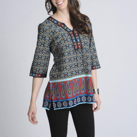 La Cera Women's Printed Embellished Casual Shirt