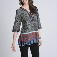 La Cera Women's Printed Embellished Casual Shirt