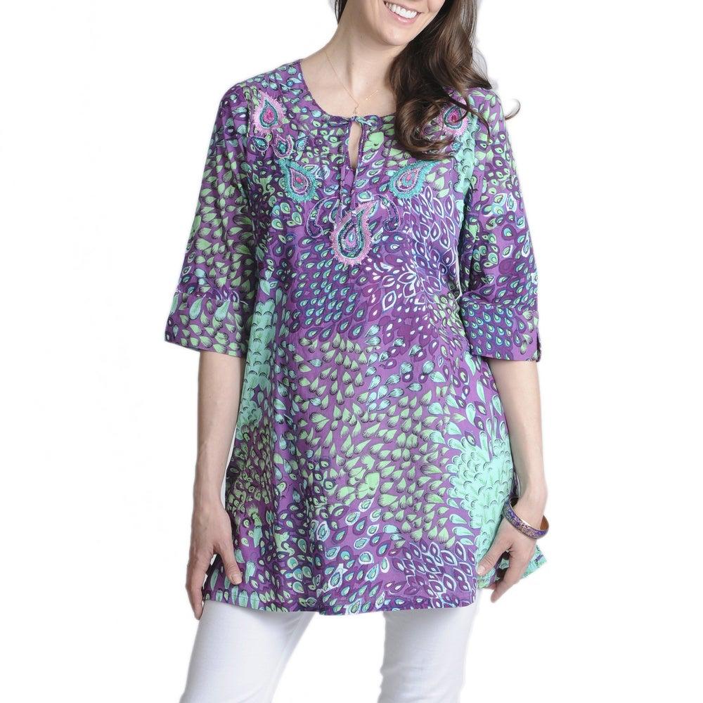 La Cera Womens Printed Voile Caftan Tunic