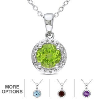 Miadora Sterling Silver Birthstone Necklace