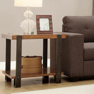 Lawson Contemporary Industrial Brass and Reclaimed Wood End Table. Reclaimed Wood Coffee  Console  Sofa   End Tables For Less