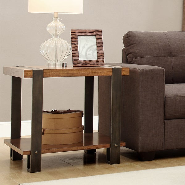 TRIBECCA HOME Lawson Contemporary Industrial Brass and Reclaimed Wood End Table