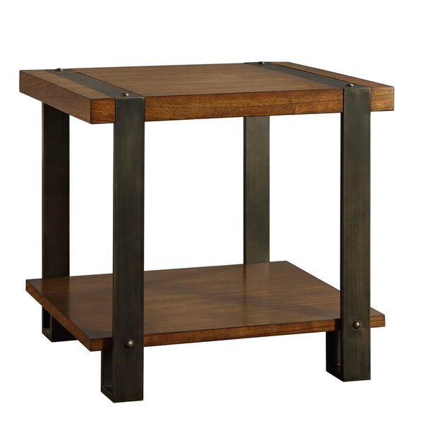 Lawson Contemporary Industrial Brass And Reclaimed Wood End Table   Free  Shipping Today   Overstock.com   15324865