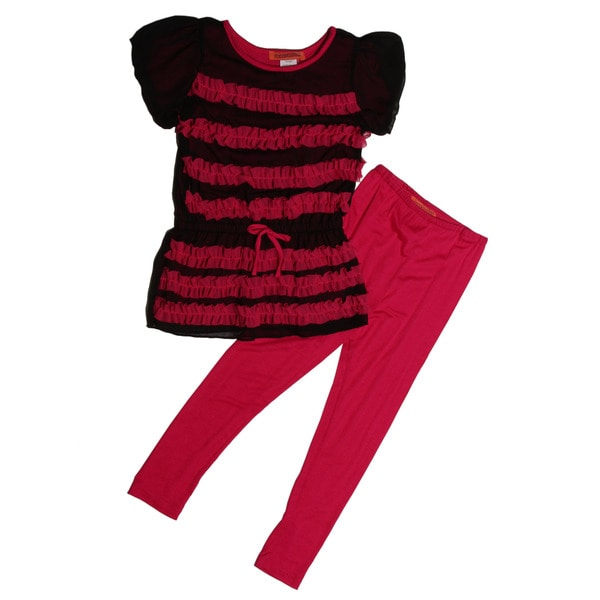 Funkyberry Girls Hot Pink Top and Leggings Set