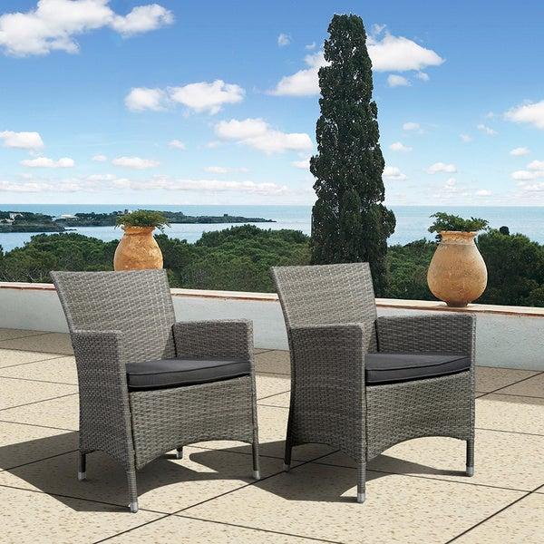 Atlantic Patio Furniture Reviews: Shop Atlantic Liberty Grey Wicker Deluxe Outdoor Armchairs