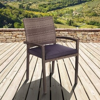 Atlantic Liberty Wicker Grey Outdoor Stacking Arm Chair (Set of 4)