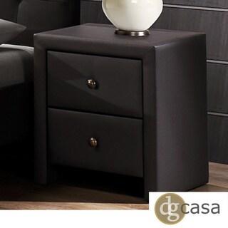 DG Casa Kingston Dark Brown Leatherette Wrapped Nightstand