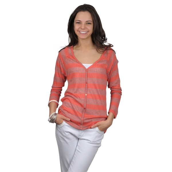 Journee Collection Juniors Long Sleeve Striped Button-up Top