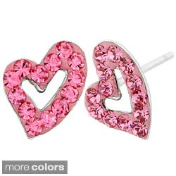 Stainless Steel Colored Cubic Zirconia Hollow Heart Earrings