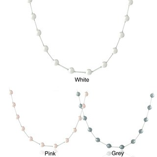 Glitzy Rocks Sterling Silver Faux Pearl Station Necklace