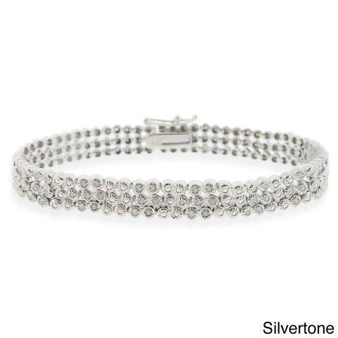 DB Designs Silvertone 1ct TDW 3-row Diamond Bracelet